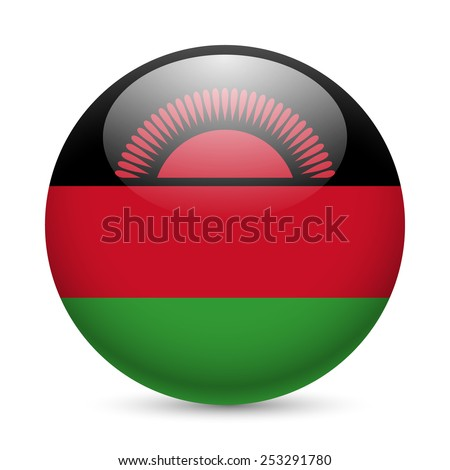 Raster version. Flag of Malawi as round glossy icon. Button with Malawian  flag  - stock photo