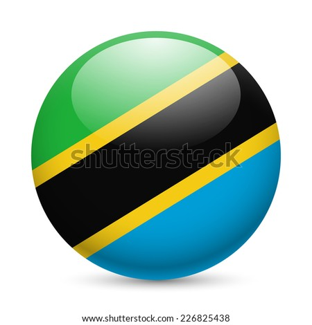 Raster version. Flag of Tanzania as round glossy icon. Button with Tanzanian flag  - stock photo