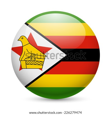 Raster version. Flag of Zimbabwe as round glossy icon. Button with Zimbabwean flag  - stock photo