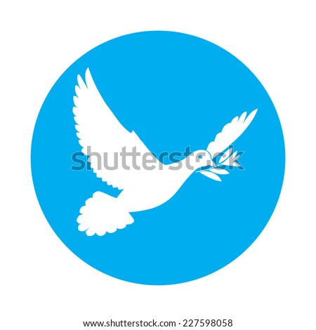 Raster version. Flat icon of white dove of peace with olive branch in its beak  - stock photo