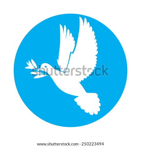 Raster version. Flat icon of white dove of peace with olive twig in its beak  - stock photo