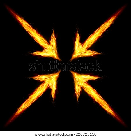 Raster version. Four fire arrows directed to the centre. Illustration on black background  - stock photo