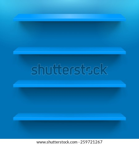 Raster version. Four gorizontal blue bookshelves on the  wall