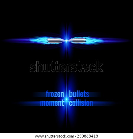 Raster version. Frozen moment of two bullets collision in blue flame  - stock photo