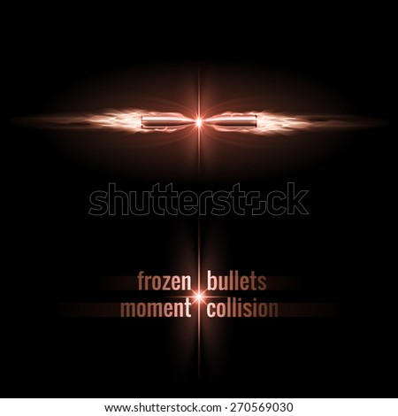 Raster version. Frozen moment of two bullets collision in flame  - stock photo