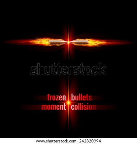 Raster version. Frozen moment of two bullets collision in orange flame  - stock photo