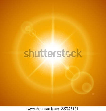 Raster version. Glaring sun with lens flare over orange background  - stock photo