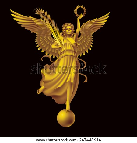 Raster version / Goddess of Victory with wreath and palm branch on a black background - stock photo