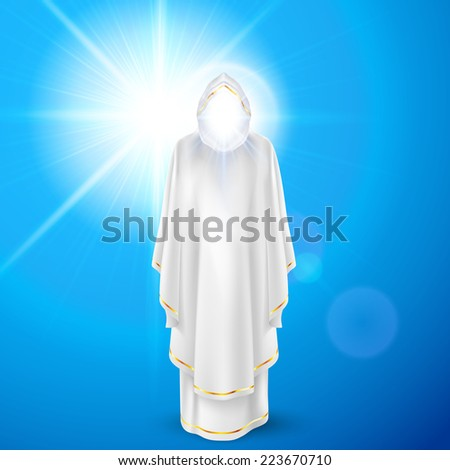 Raster version. Gods guardian angel in white dress against sky background and bright sun flare. Religious concept  - stock photo