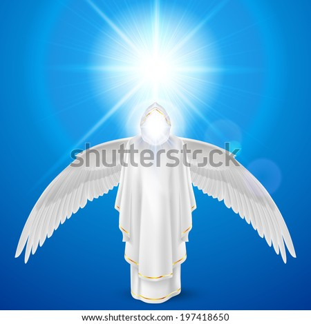 Raster version. Gods guardian angel in white dress with wings down against sky background and bright sun flare. Religious concept - stock photo