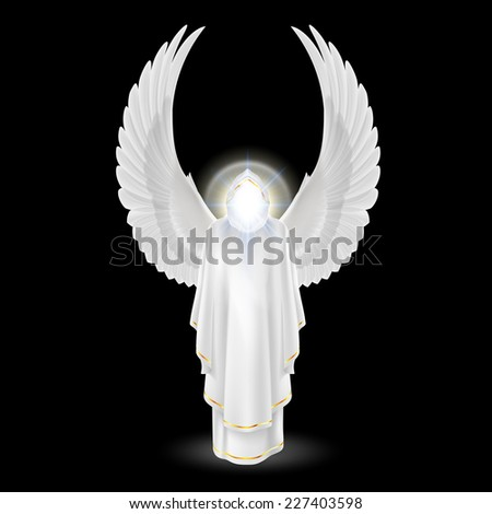 Raster version. Gods guardian angel in white with wings up on black background. Archangels image. Religious concept  - stock photo