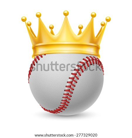 Raster version. Gold crown on a baseball isolated on white - stock photo