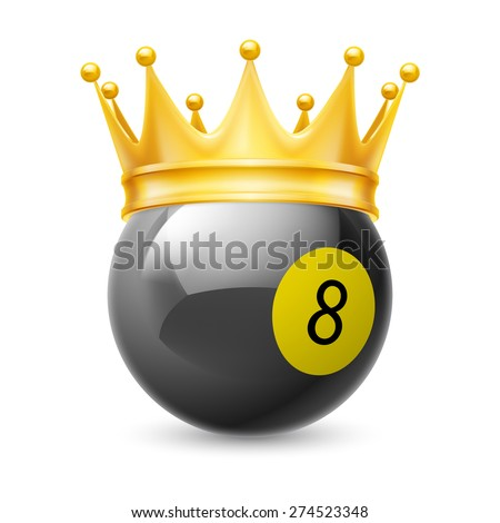 Raster version. Gold crown on a billiard ball isolated on white - stock photo