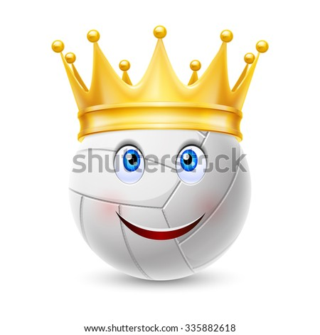 Raster version. Gold crown on a volleyball ball with smiling face - stock photo