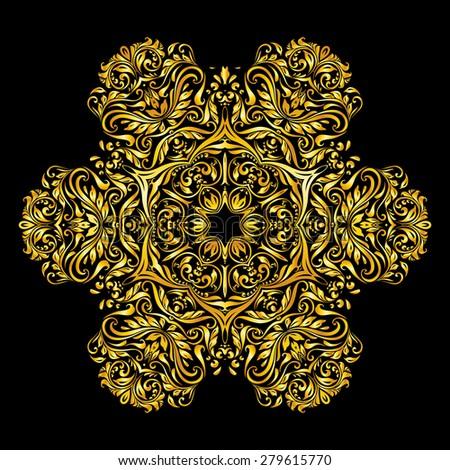Raster version. gold decoration similar a flower on a black background - stock photo