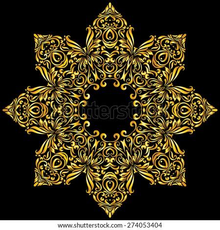 Raster version. gold element similar a nice flower on black background  - stock photo