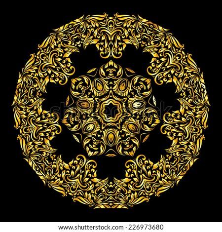 Raster version. gold pattern similar a flower on black background  - stock photo