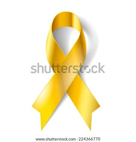 Raster version. Gold ribbon as symbol of childhood cancer awareness  - stock photo