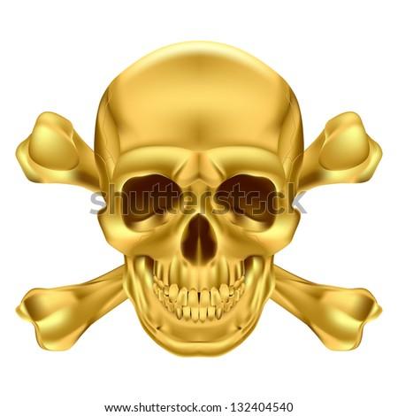 Raster version. Gold Skull and Crossbones. Illustration on white for creative design - stock photo