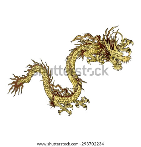 Raster version golden Chinese dragon, a traditional design, isolated object - stock photo