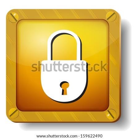 raster version golden closed lock icon - stock photo