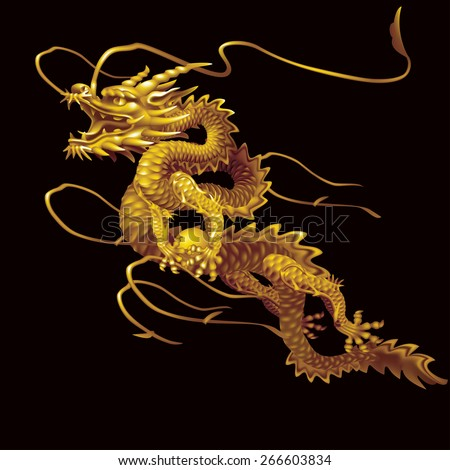Raster version / Golden Dragon moving up diagonally on a black background - stock photo