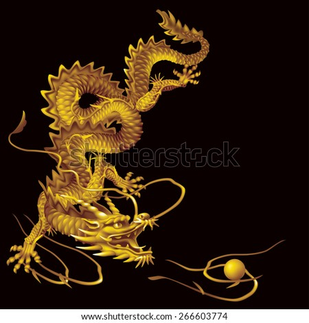 Raster version / Golden Dragon running vertically down the black background - stock photo