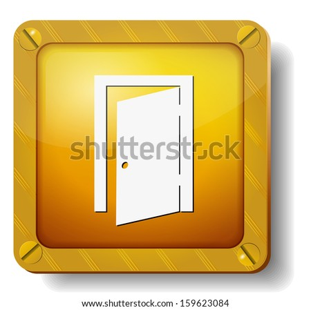 raster version golden exit door icon - stock photo