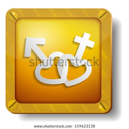 raster version golden male and female icon - stock photo