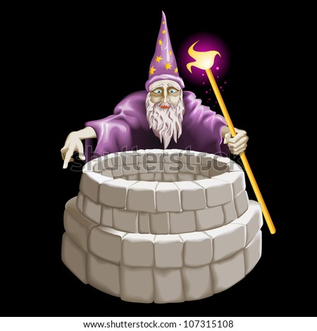 Raster version. Good magician and a well. Illustration on white background. - stock photo