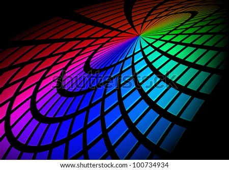 Raster version. Graphic Equalizer. Circle in space. Illustration on black for design. - stock photo