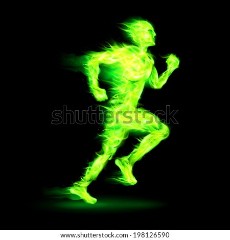 Raster version. Green fiery running man with motion effect on black background - stock photo