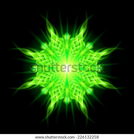 Raster version. Green flamy fiery fire round ornate  braid decorative floral round pattern on the black background. Eight patterns in different directions.  - stock photo