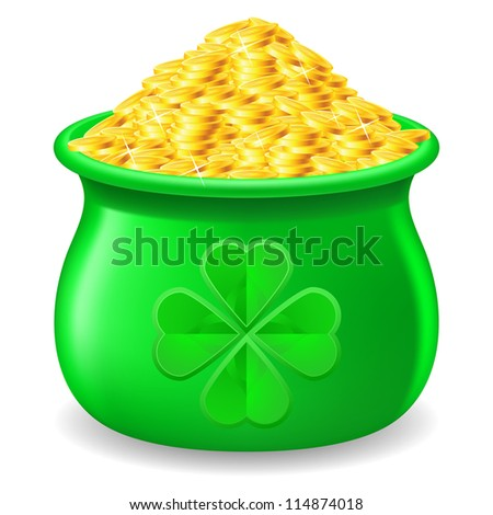 Raster version. Green Pot full of gold coin. Illustration on white - stock photo