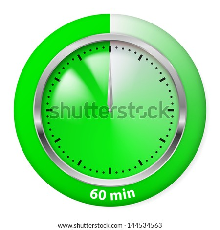 Raster version. Green Timer Icon. Sixty Minutes. Illustration on white.