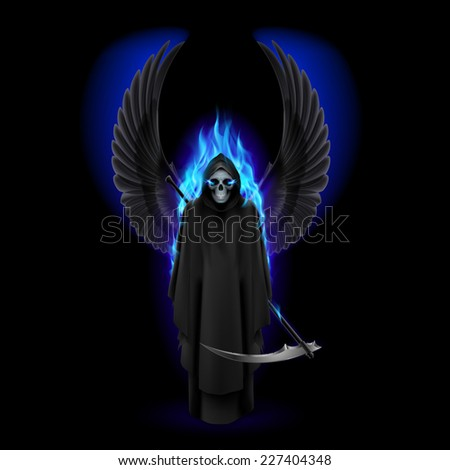 Raster version. Grim Reaper with wings and blue flame on black  - stock photo