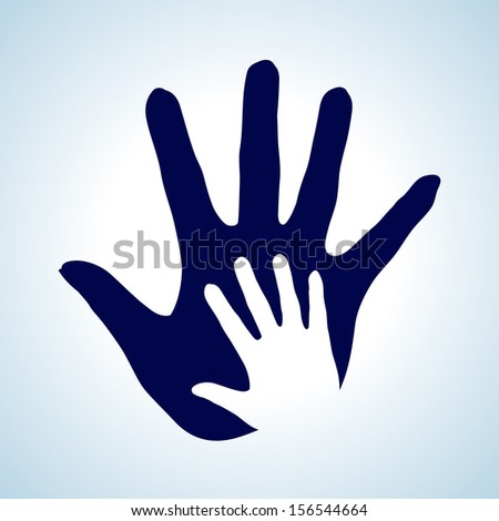 Raster version. Hand in hand illustration in white and blue. Idea of help, assistance and cooperation.