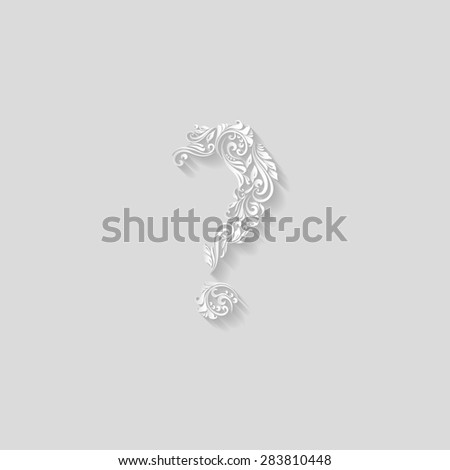 Raster version. Handsomely decorative ornament question mark on a gray background - stock photo