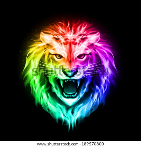 Raster version. Head of aggressive fire lion in spectrum  on black background - stock photo