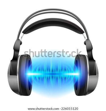 Raster version. Headphones with blue sound waves. Illustration on white background  - stock photo