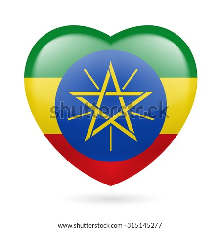 Raster version. Heart with Ethiopian flag colors. I love Ethiopia