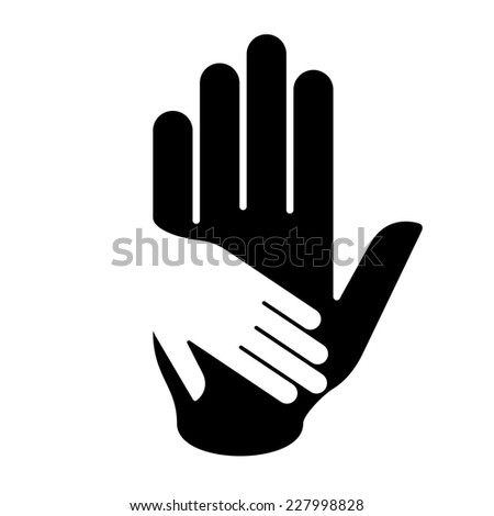 Raster version. Helping hand illustration in black-and-white. Concept of help, assistance and cooperation.  - stock photo