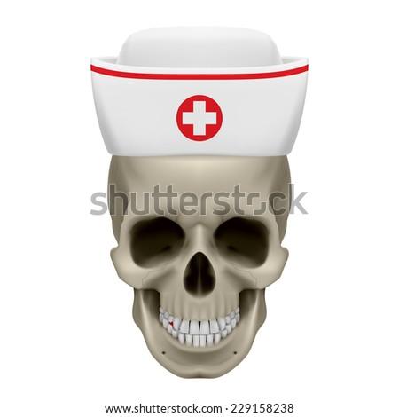 Raster version. Human skull in white nurse cap. Illustration on white background  - stock photo
