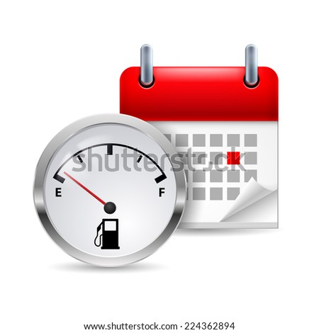 Raster version. Icon of fuel indicator and calendar with marked day  - stock photo
