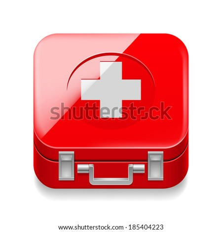 Raster version. Icon of red first-aid kit on white background