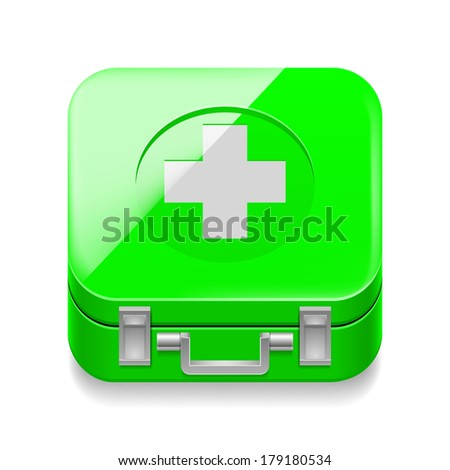 Raster version. Icon of shiny green first-aid kit on white background - stock photo