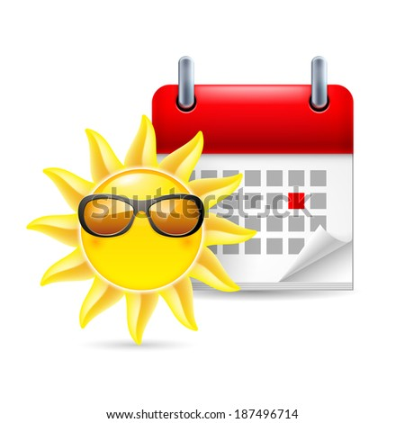 Raster version. Icon of sun in sunglasses and calendar with marked day. Summer vacation - stock photo