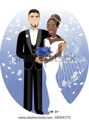 Raster version Illustration. A beautiful bride and groom on their wedding day. Interracial Wedding Couple. Bride Groom 2 - stock photo