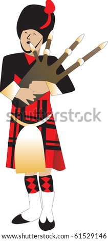 Raster version Illustration cartoon of a bagpiper piping. - stock photo