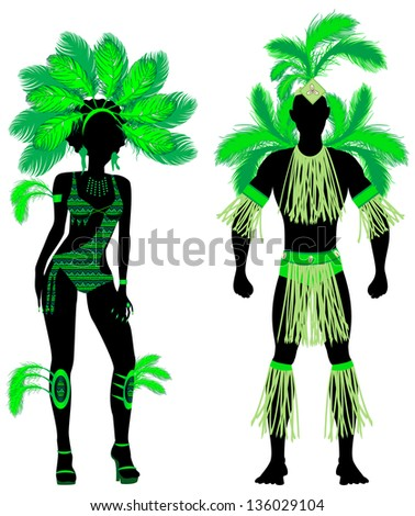 Raster version Illustration Couple for Carnival Green Costume Silhouettes with a man and a woman. - stock photo